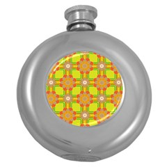 Floral Pattern Wallpaper Background Beautiful Colorful Round Hip Flask (5 oz)