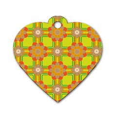 Floral Pattern Wallpaper Background Beautiful Colorful Dog Tag Heart (two Sides)