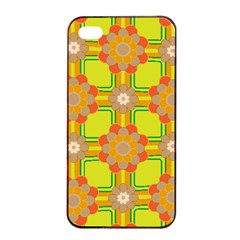 Floral Pattern Wallpaper Background Beautiful Colorful Apple iPhone 4/4s Seamless Case (Black)