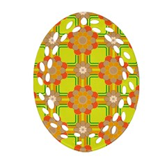 Floral Pattern Wallpaper Background Beautiful Colorful Oval Filigree Ornament (Two Sides)