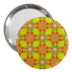 Floral Pattern Wallpaper Background Beautiful Colorful 3  Handbag Mirrors