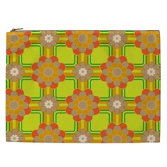 Floral Pattern Wallpaper Background Beautiful Colorful Cosmetic Bag (XXL)