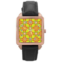 Floral Pattern Wallpaper Background Beautiful Colorful Rose Gold Leather Watch