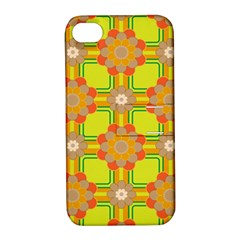 Floral Pattern Wallpaper Background Beautiful Colorful Apple iPhone 4/4S Hardshell Case with Stand