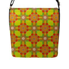 Floral Pattern Wallpaper Background Beautiful Colorful Flap Messenger Bag (L)