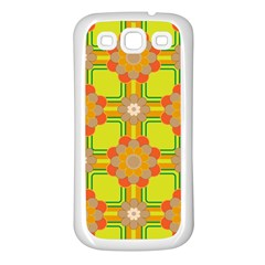 Floral Pattern Wallpaper Background Beautiful Colorful Samsung Galaxy S3 Back Case (White)