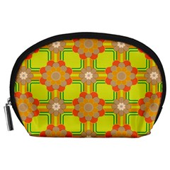 Floral Pattern Wallpaper Background Beautiful Colorful Accessory Pouches (large)