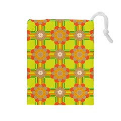 Floral Pattern Wallpaper Background Beautiful Colorful Drawstring Pouches (Large)