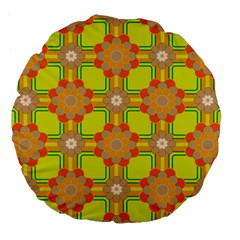 Floral Pattern Wallpaper Background Beautiful Colorful Large 18  Premium Flano Round Cushions