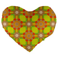Floral Pattern Wallpaper Background Beautiful Colorful Large 19  Premium Flano Heart Shape Cushions