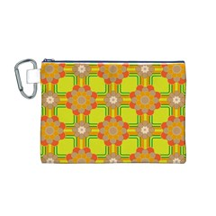 Floral Pattern Wallpaper Background Beautiful Colorful Canvas Cosmetic Bag (M)