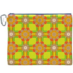 Floral Pattern Wallpaper Background Beautiful Colorful Canvas Cosmetic Bag (xxxl)