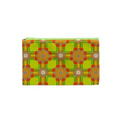 Floral Pattern Wallpaper Background Beautiful Colorful Cosmetic Bag (xs)