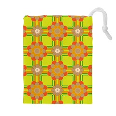 Floral Pattern Wallpaper Background Beautiful Colorful Drawstring Pouches (extra Large)