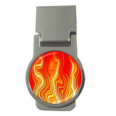 Fire Flames Abstract Background Money Clips (Round)