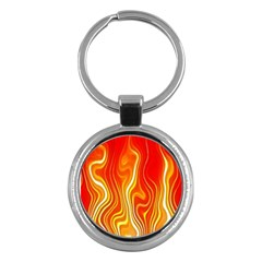 Fire Flames Abstract Background Key Chains (Round)