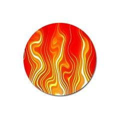 Fire Flames Abstract Background Magnet 3  (round)