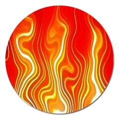 Fire Flames Abstract Background Magnet 5  (Round)