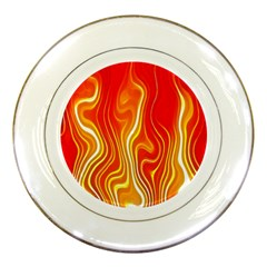 Fire Flames Abstract Background Porcelain Plates