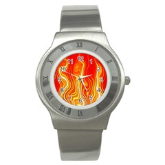 Fire Flames Abstract Background Stainless Steel Watch