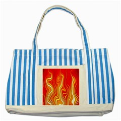 Fire Flames Abstract Background Striped Blue Tote Bag