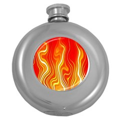 Fire Flames Abstract Background Round Hip Flask (5 oz)