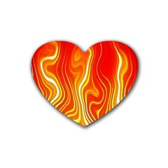 Fire Flames Abstract Background Rubber Coaster (heart)