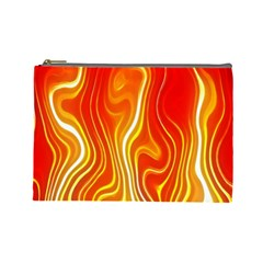 Fire Flames Abstract Background Cosmetic Bag (Large)