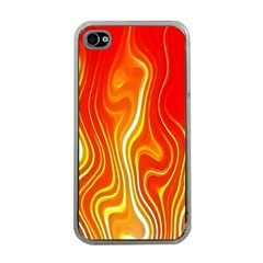 Fire Flames Abstract Background Apple Iphone 4 Case (clear)
