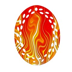 Fire Flames Abstract Background Ornament (Oval Filigree)