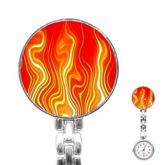 Fire Flames Abstract Background Stainless Steel Nurses Watch