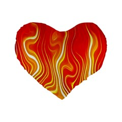 Fire Flames Abstract Background Standard 16  Premium Flano Heart Shape Cushions