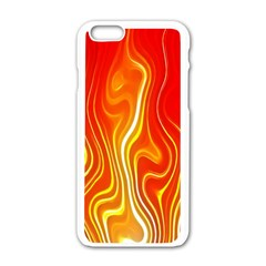 Fire Flames Abstract Background Apple iPhone 6/6S White Enamel Case