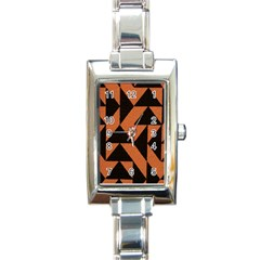 Brown Triangles Background Rectangle Italian Charm Watch