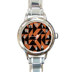 Brown Triangles Background Round Italian Charm Watch
