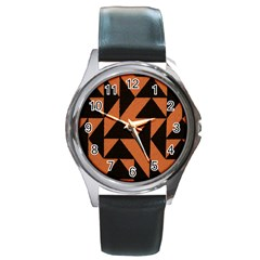 Brown Triangles Background Round Metal Watch