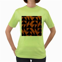 Brown Triangles Background Women s Green T Shirt