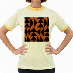 Brown Triangles Background Women s Fitted Ringer T Shirts