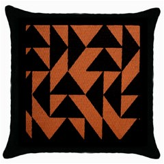 Brown Triangles Background Throw Pillow Case (Black)