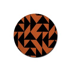 Brown Triangles Background Rubber Round Coaster (4 pack)