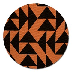 Brown Triangles Background Magnet 5  (round)