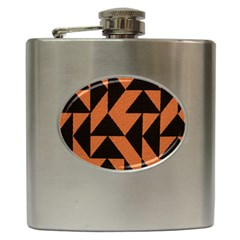 Brown Triangles Background Hip Flask (6 oz)