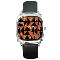 Brown Triangles Background Square Metal Watch