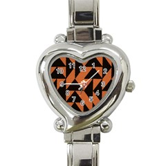 Brown Triangles Background Heart Italian Charm Watch