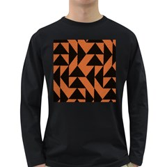 Brown Triangles Background Long Sleeve Dark T Shirts