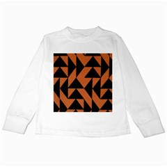 Brown Triangles Background Kids Long Sleeve T-Shirts