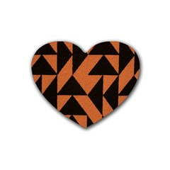 Brown Triangles Background Heart Coaster (4 Pack)