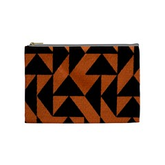 Brown Triangles Background Cosmetic Bag (medium)