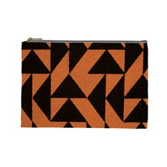 Brown Triangles Background Cosmetic Bag (large)
