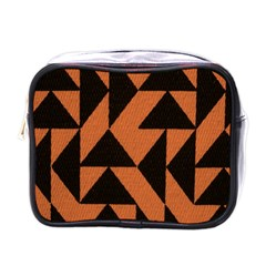 Brown Triangles Background Mini Toiletries Bags